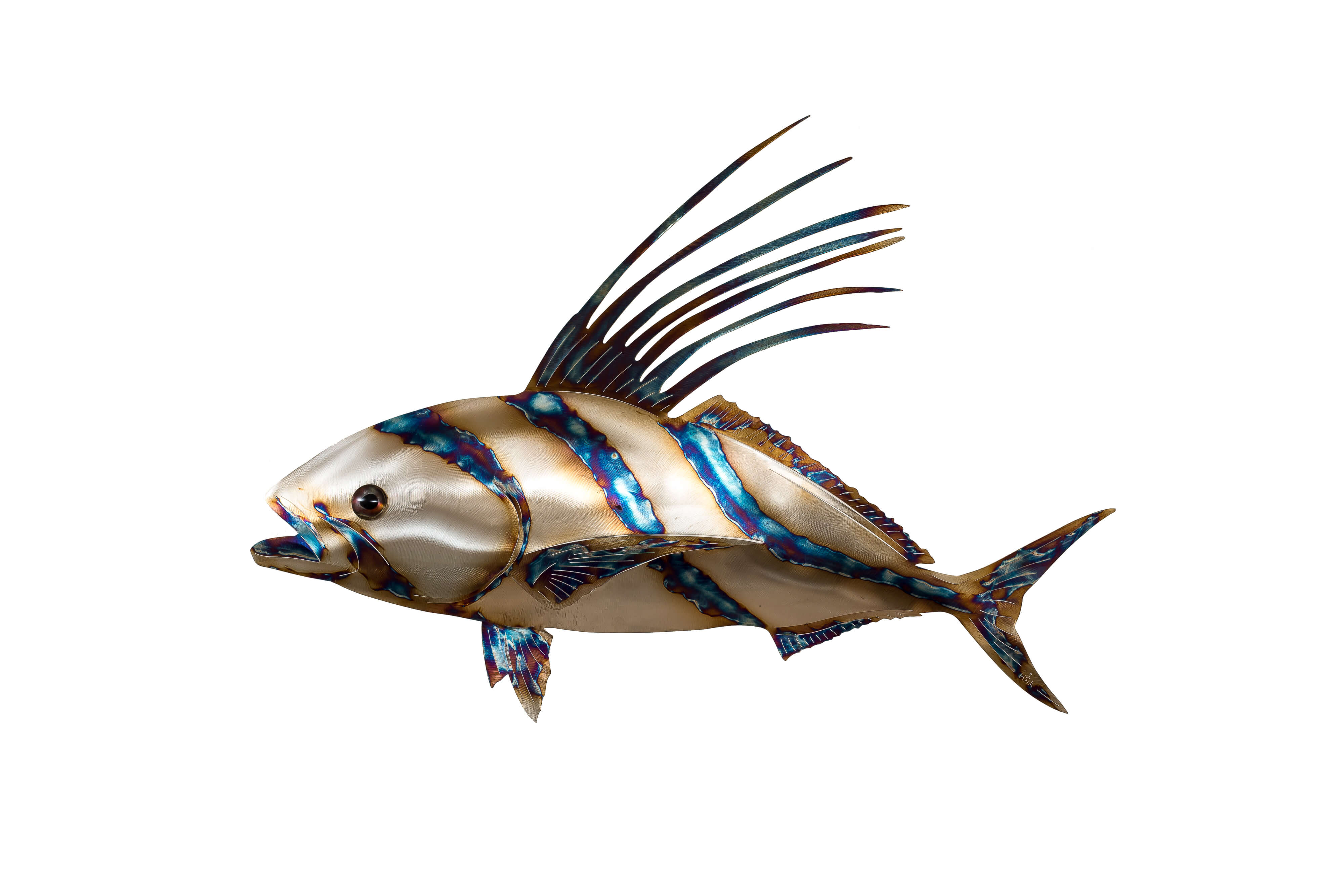 Rooster fish metal fish 66 for Too cool fishing